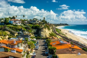 View of houses and the Pacific Ocean from a cliff in San Clemente, California.